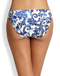 MILLY | Blue St. Lucia Delft-Print Bikini Bottom | Lyst