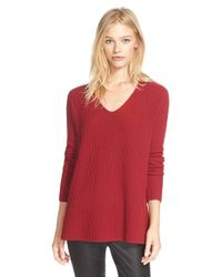 Vince - Red Ribbed V-neck Cashmere Sweater - Lyst
