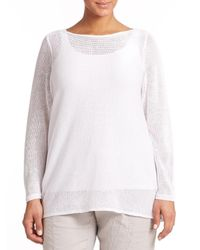 Eileen Fisher | White Linen Boatneck Top | Lyst