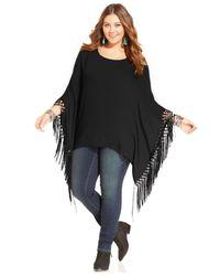 American Rag | Black Plus Size Fringed Poncho Top | Lyst