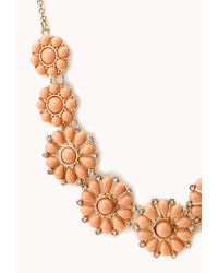 Forever 21 - Orange Dainty Floral Faux Stone Necklace - Lyst