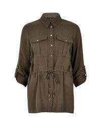 River Island - Natural Khaki Utliity Shirt Jacket - Lyst