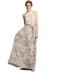 Donna Morgan | Pink 'alana' Print Chiffon Halter Style Gown | Lyst