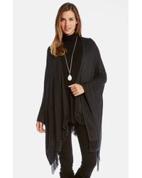 Karen Kane | Gray Fringed Cape Wrap | Lyst