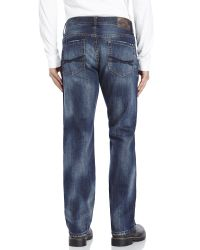 7 For All Mankind - Blue Quake Destroyed Straight Jeans for Men - Lyst