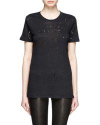 IRO - Black 'clay' Distressed Linen T-shirt - Lyst