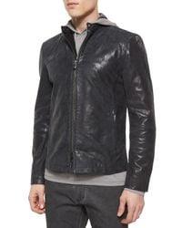 John Varvatos - Black Leather Moto Racer Jacket for Men - Lyst