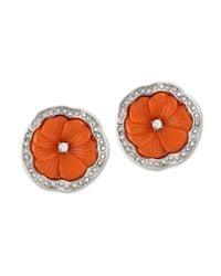 Kenneth Jay Lane | Orange Coral Flower Clip Earring | Lyst