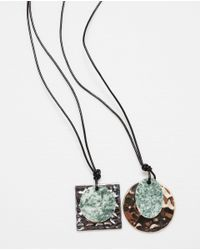 Zara | Green Metal Plaque Necklace Pack Of 2 | Lyst