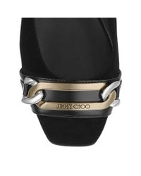 Jimmy Choo | Black Glimpse Flat | Lyst