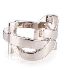 Saint Laurent - Metallic Silvertone Ysl Logo Ring for Men - Lyst