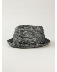 Giorgio Armani   Black Braided Trilby Hat for Men   Lyst