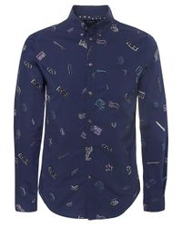 Paul Smith | Blue Printed Poplin Tailored Fit Shirt for Men | Lyst