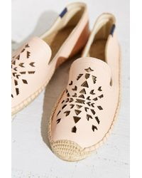 Soludos - Pink Leather Dream Catcher Espadrille Loafer - Lyst