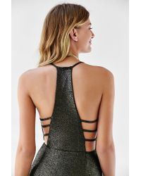 Oh My Love - Metallic Caged Shimmer Maxi Dress - Lyst