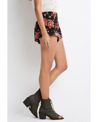 Forever 21 - Black Rose Print Smocked Shorts - Lyst