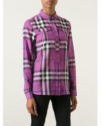 98df197f2775 Lyst - Burberry Brit  nova  Check Print Shirt in Purple