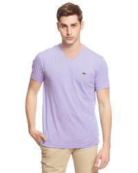 Lacoste - Purple V-neck Cotton Tee for Men - Lyst
