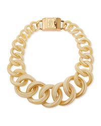 Tory Burch - Metallic Monogram Light Horn Resin Chain Necklace - Lyst