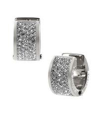 Michael Kors | Metallic Silvertone And Crystal Huggie Hoop Earrings | Lyst