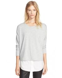 VINCE | Gray Mixed Media Top | Lyst