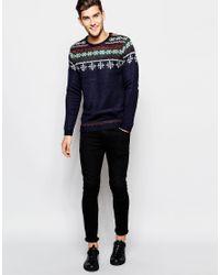 ASOS - Blue Christmas Jumper With Snowflake Fairisle for Men - Lyst