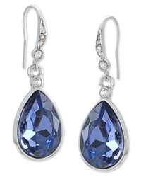 Carolee | Metallic Silver-tone Faceted Glass Stone Pear Drop Earrings | Lyst