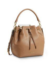 Calvin Klein - Brown White Label Madeline Drawstring Bucket Bag - Lyst