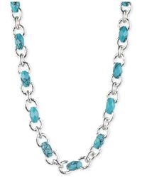 Jones New York - Blue Silver-tone Faux-turquoise Collar Necklace - Lyst