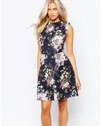 Oasis - Multicolor Winter Floral Skater Dress - Lyst
