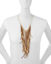 Fragments - Brown Suede Fringe Drop Necklace - Lyst