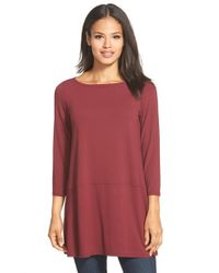 Eileen Fisher - Red Bateau Neck Jersey Tunic - Lyst