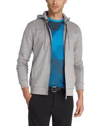 BOSS Green | Gray Hooded Sweatshirt Jacket 'skibo' In Cotton for Men | Lyst