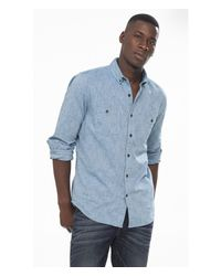Express - Blue Slub Button-down Collar Shirt for Men - Lyst