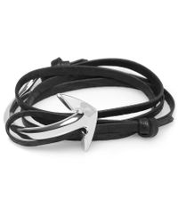 Miansai | Black Leather Half Cuff-silver Anchor Bracelet for Men | Lyst