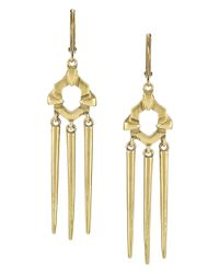 Sam Edelman | Metallic Pronged Triple Spike Drop Earrings | Lyst