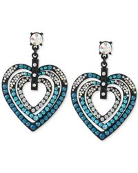 Betsey Johnson - Black-tone Blue Crystal Heart Drop Earrings - Lyst