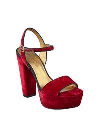 Nine West - Red Carnation Platform Sandals - Lyst