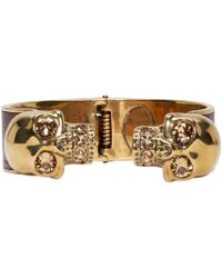 Alexander McQueen - Red Gold And Maroon Twin Skull Cuff for Men - Lyst
