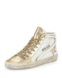 Golden Goose Deluxe Brand - Metallic Star-embellished Leather High-top Sneaker - Lyst