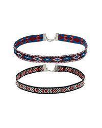 TOPSHOP - Red Navaho Patterned Woven Choker - Lyst