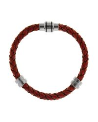 Ted Baker | Red Plaited Leather Detail Bracelet for Men | Lyst