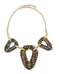 Alexis Bittar - Metallic Crocodile-Textured Bib Necklace - Lyst
