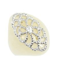 Miriam Salat - White Mother Of Pearl And Crystal 'spirit' Ring - Lyst