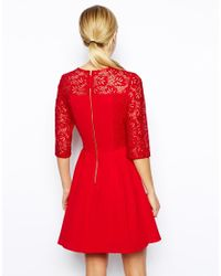 Oasis - Red Lace Sleeve Skater Dress - Lyst