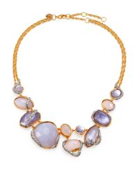Alexis Bittar | Purple Blue Chalcedony Motherofpearl Swarovski Crystal Vine Necklace for Men | Lyst