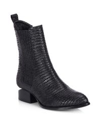 Alexander Wang - Black Anouk Lizardembossed Leather Ankle Boots - Lyst