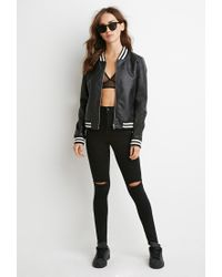 Forever 21 - Black Perforated Faux Leather Bomber Jacket - Lyst