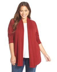 Lucky Brand | Red Mix Stitch Cardigan | Lyst