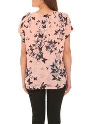 Izabel London - Pink Oversized Butterfly Print Top - Lyst